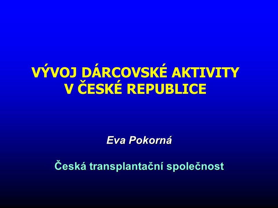 VÝVOJ DÁRCOVSKÉ AKTIVITY V ČESKÉ REPUBLICE Eva Pokorná Česká transplantační společnost