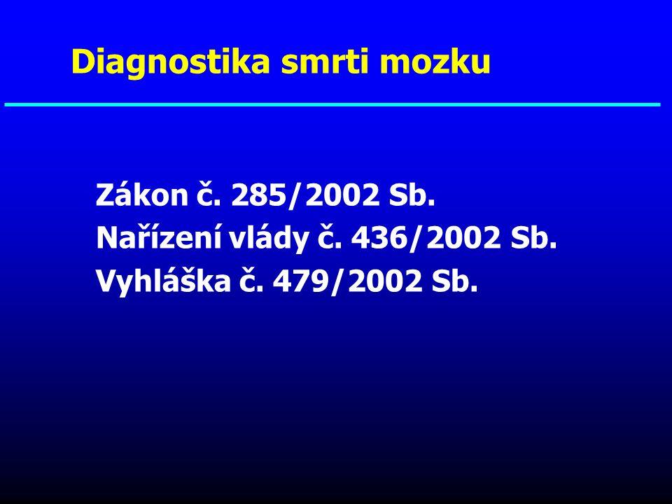 Zákon č. 285/2002 Sb. Nařízení vlády č. 436/2002 Sb. Vyhláška č. 479/2002 Sb. Diagnostika smrti mozku