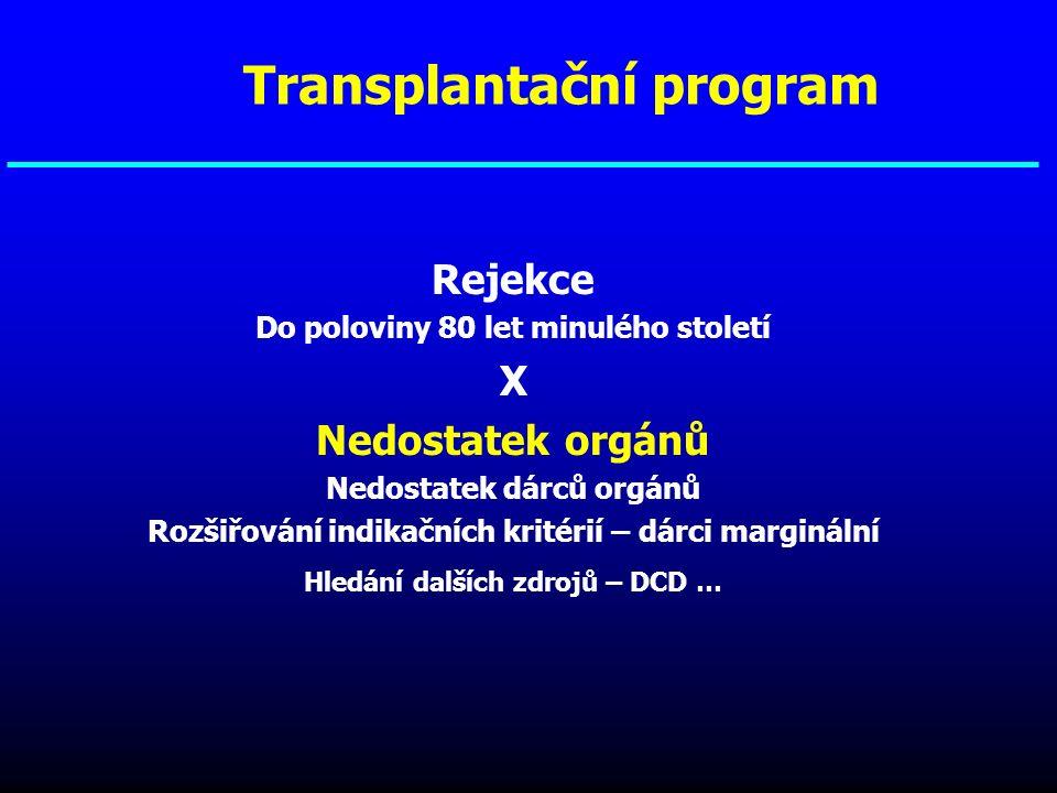 Rejekce Do poloviny 80 let minulého století X Nedostatek orgánů Nedostatek dárců orgánů Rozšiřování indikačních kritérií – dárci marginální Hledání da