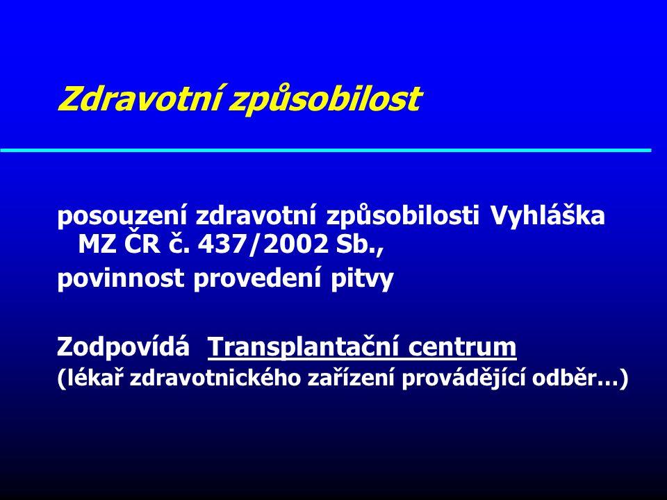 Zdravotní způsobilost posouzení zdravotní způsobilosti Vyhláška MZ ČR č. 437/2002 Sb., povinnost provedení pitvy Zodpovídá Transplantační centrum (lék