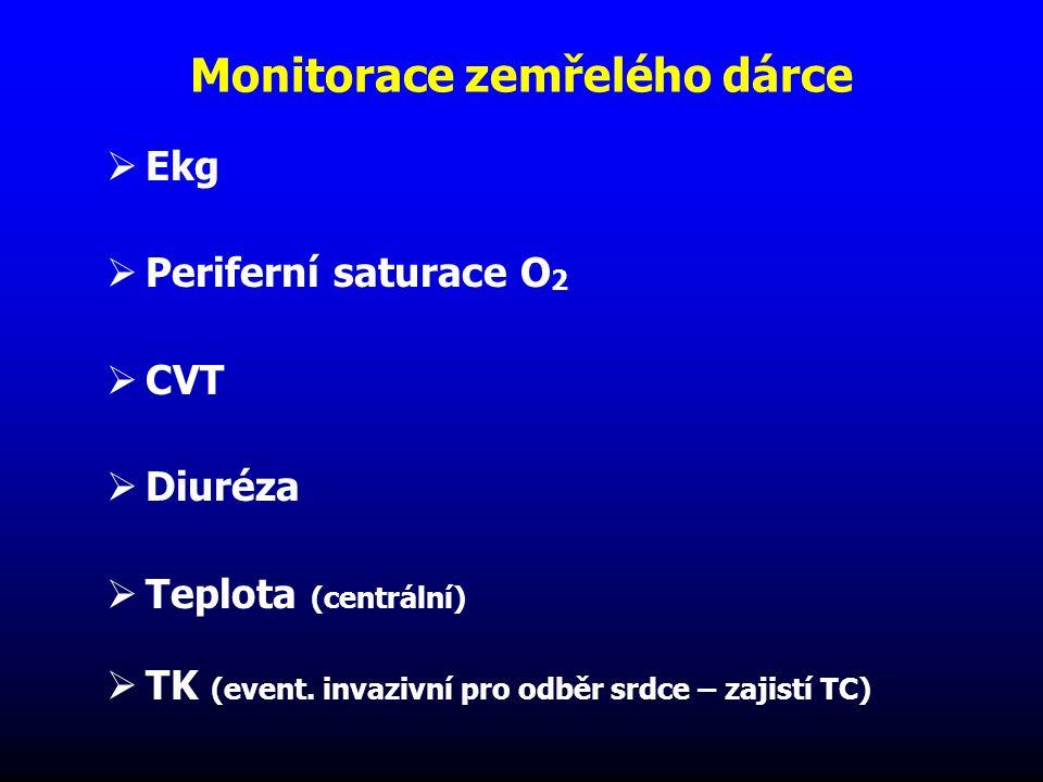 Monitorace zemřelého dárce  Ekg  Periferní saturace O 2  CVT  Diuréza  Teplota (centrální)  TK (event. invazivní pro odběr srdce – zajistí TC)