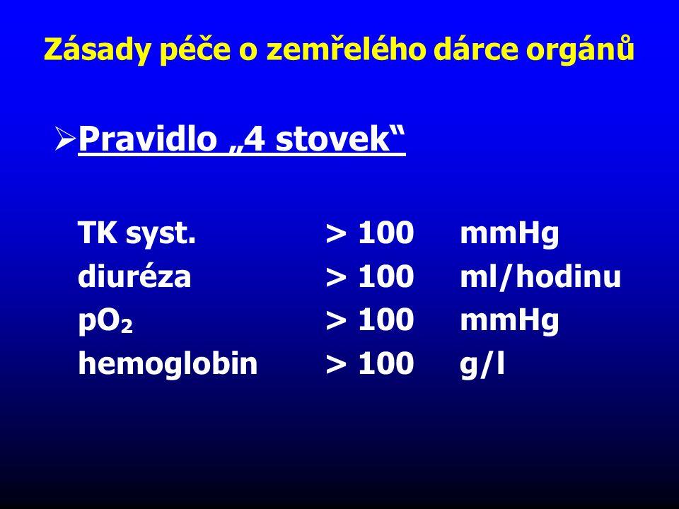 """Zásady péče o zemřelého dárce orgánů  Pravidlo """"4 stovek"""" TK syst.> 100 mmHg diuréza> 100 ml/hodinu pO 2 > 100mmHg hemoglobin> 100 g/l"""