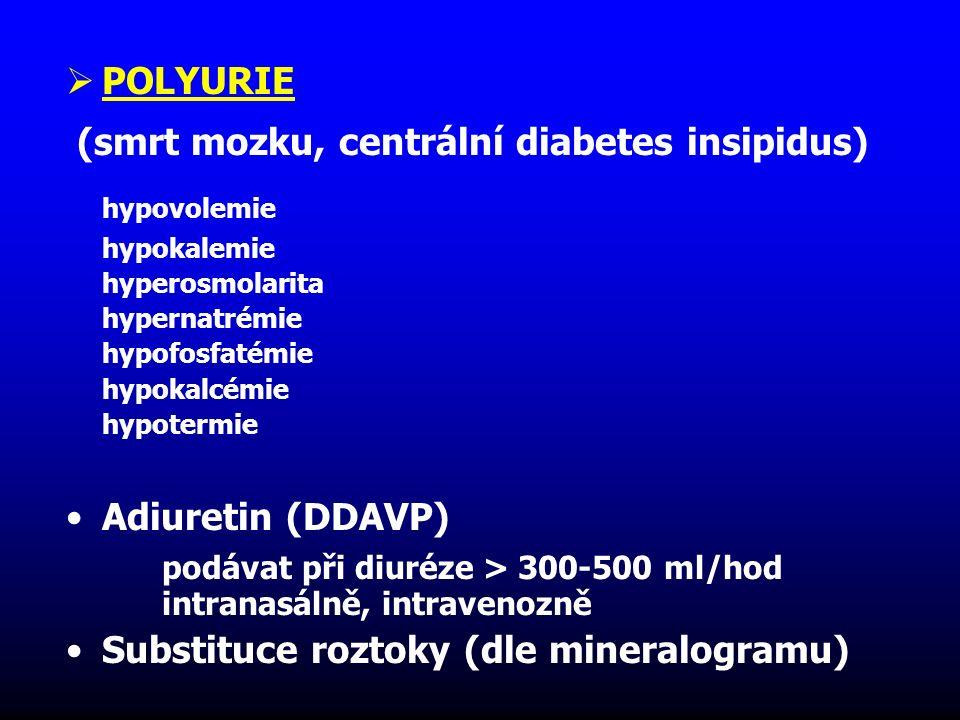  POLYURIE (smrt mozku, centrální diabetes insipidus) hypovolemie hypokalemie hyperosmolarita hypernatrémie hypofosfatémie hypokalcémie hypotermie Adi