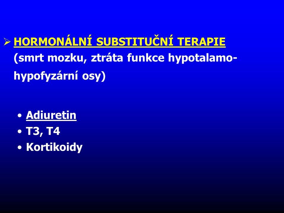  HORMONÁLNÍ SUBSTITUČNÍ TERAPIE (smrt mozku, ztráta funkce hypotalamo- hypofyzární osy) Adiuretin T3, T4 Kortikoidy