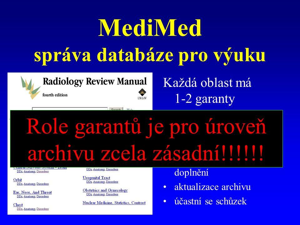 MediMed správa databáze pro výuku Každá oblast má 1-2 garanty Úkoly garantů: pořádek v sekci potvrzení zaslané studie, ev. vyžádá doplnění aktualizace