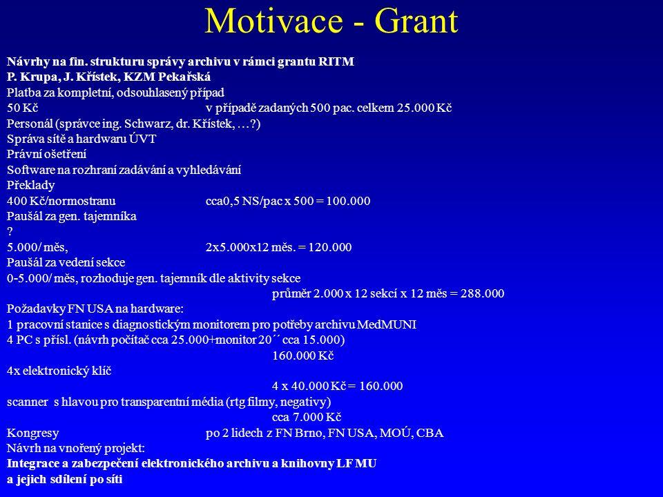 Motivace - Grant Návrhy na fin. strukturu správy archivu v rámci grantu RITM P. Krupa, J. Křístek, KZM Pekařská Platba za kompletní, odsouhlasený příp