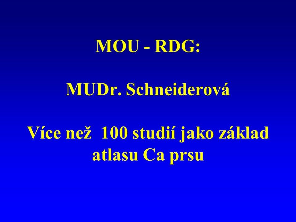 MOU - RDG: MUDr. Schneiderová Více než 100 studií jako základ atlasu Ca prsu