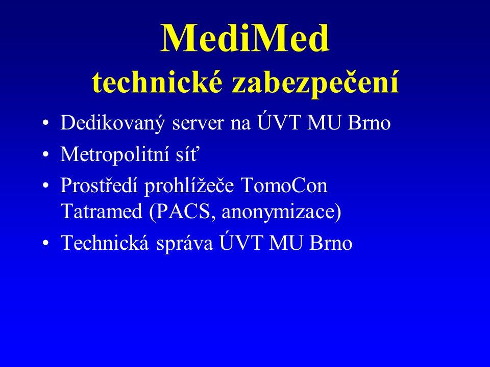 MediMed technické zabezpečení Dedikovaný server na ÚVT MU Brno Metropolitní síť Prostředí prohlížeče TomoCon Tatramed (PACS, anonymizace) Technická správa ÚVT MU Brno