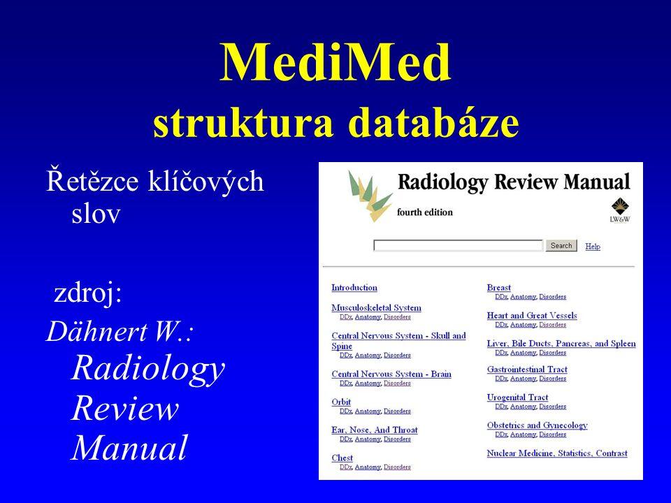 MediMed struktura databáze Řetězce klíčových slov zdroj: Dähnert W.: Radiology Review Manual