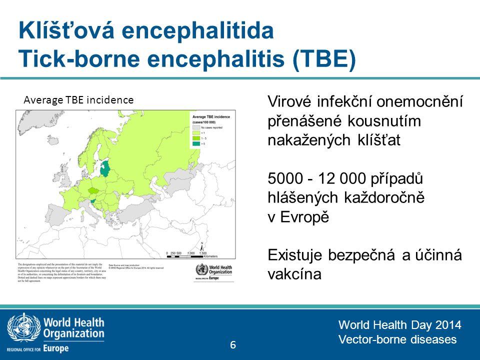 Klíšťová encephalitida Tick-borne encephalitis (TBE) Virové infekční onemocnění přenášené kousnutím nakažených klíšťat 5000 - 12 000 případů hlášených každoročně v Evropě Existuje bezpečná a účinná vakcína World Health Day 2014 Vector-borne diseases Average TBE incidence 6
