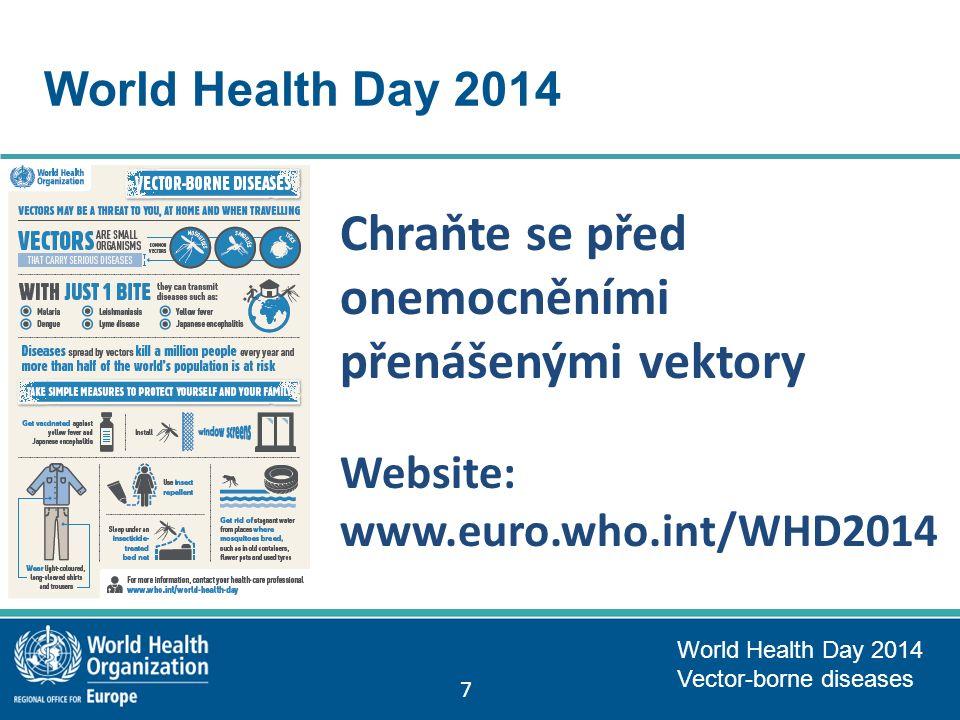 World Health Day 2014 Chraňte se před onemocněními přenášenými vektory Website: www.euro.who.int/WHD2014 World Health Day 2014 Vector-borne diseases 7