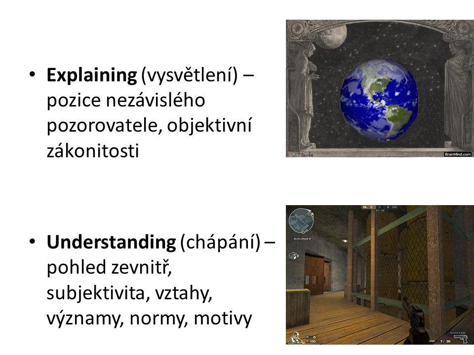 Explaining (vysvětlení) – pozice nezávislého pozorovatele, objektivní zákonitosti Understanding (chápání) – pohled zevnitř, subjektivita, vztahy, významy, normy, motivy