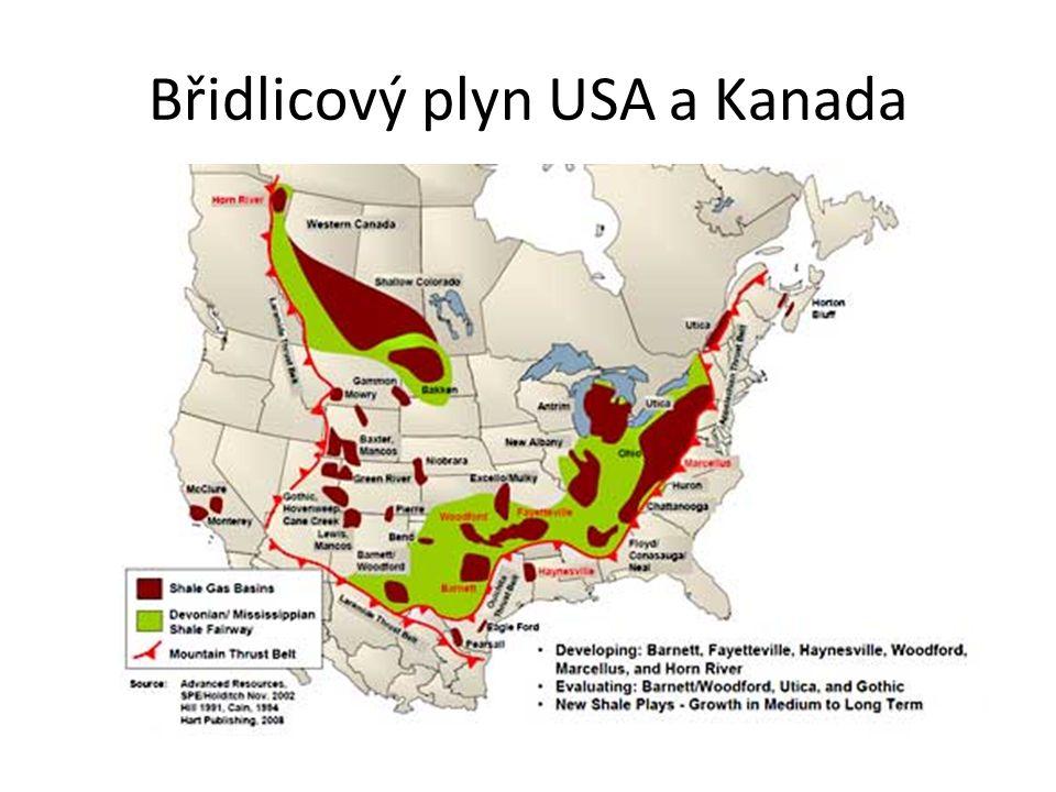Břidlicový plyn USA a Kanada