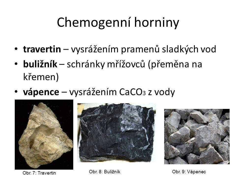 Chemogenní horniny travertin – vysrážením pramenů sladkých vod buližník – schránky mřížovců (přeměna na křemen) vápence – vysrážením CaCO 3 z vody Obr