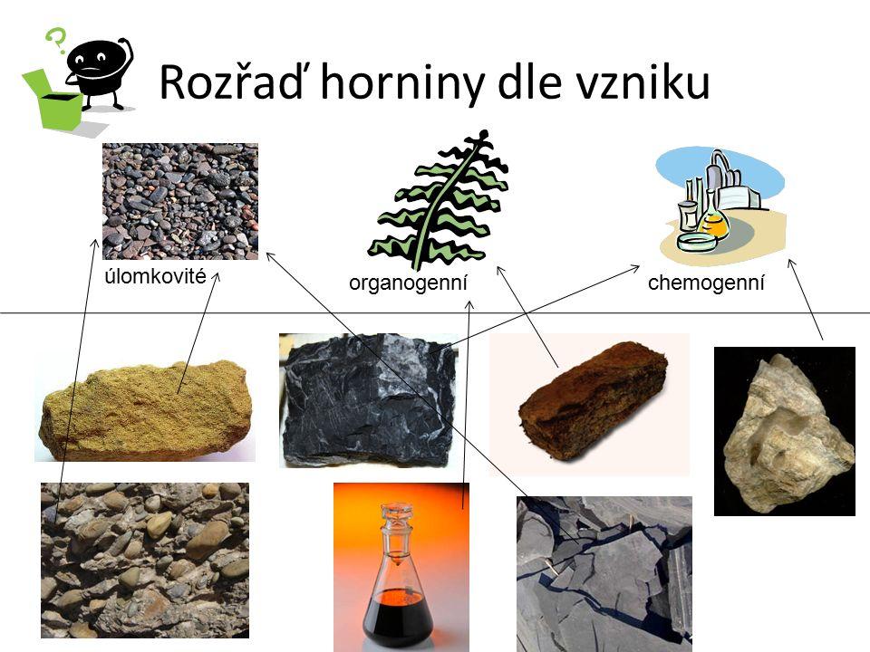 Rozřaď horniny dle vzniku úlomkovité organogenníchemogenní