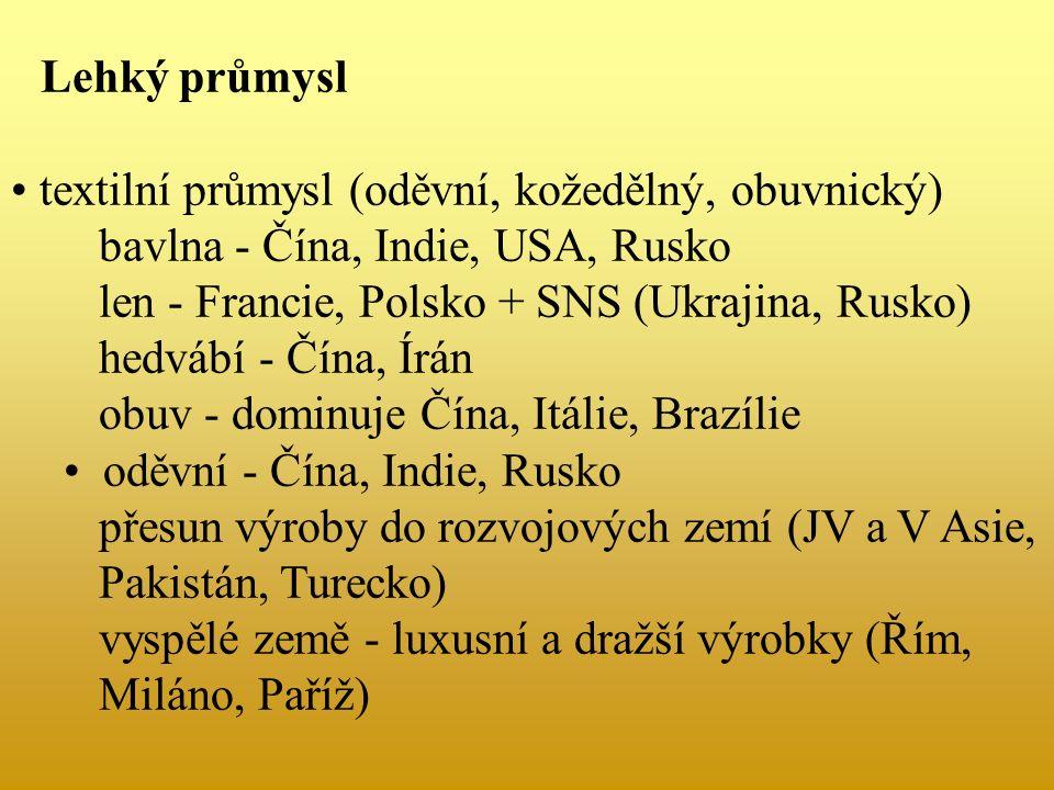 Lehký průmysl textilní průmysl (oděvní, kožedělný, obuvnický) bavlna - Čína, Indie, USA, Rusko len - Francie, Polsko + SNS (Ukrajina, Rusko) hedvábí - Čína, Írán obuv - dominuje Čína, Itálie, Brazílie oděvní - Čína, Indie, Rusko přesun výroby do rozvojových zemí (JV a V Asie, Pakistán, Turecko) vyspělé země - luxusní a dražší výrobky (Řím, Miláno, Paříž)