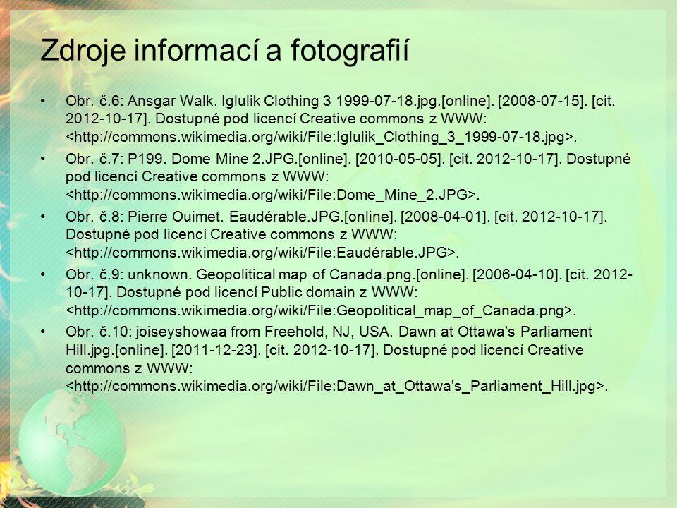 Zdroje informací a fotografií Obr. č.6: Ansgar Walk. Iglulik Clothing 3 1999-07-18.jpg.[online]. [2008-07-15]. [cit. 2012-10-17]. Dostupné pod licencí