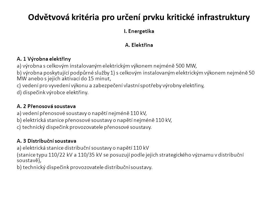Odvětvová kritéria pro určení prvku kritické infrastruktury I.