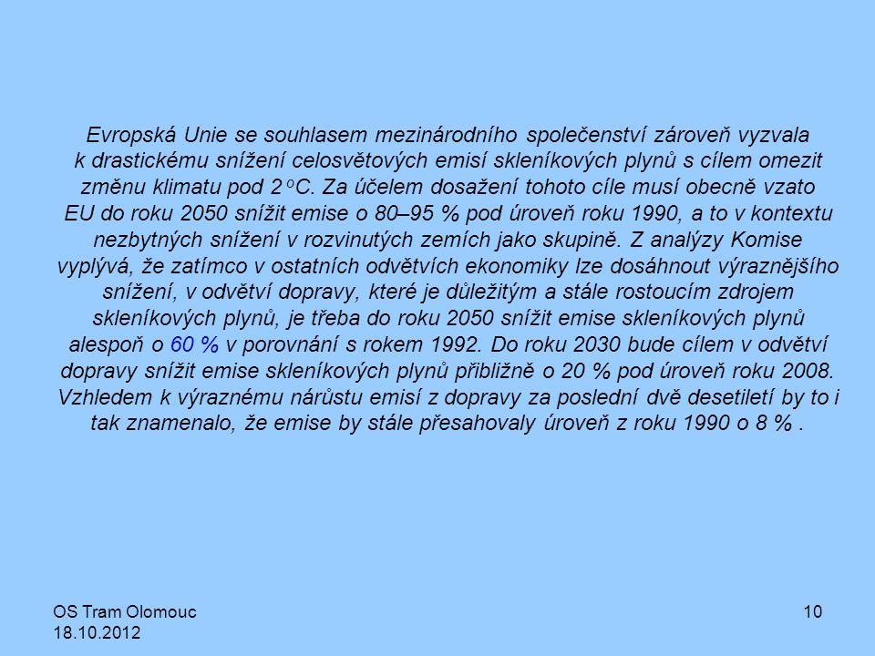 OS Tram Olomouc 18.10.2012 10 Evropská Unie se souhlasem mezinárodního společenství zároveň vyzvala k drastickému snížení celosvětových emisí skleníko