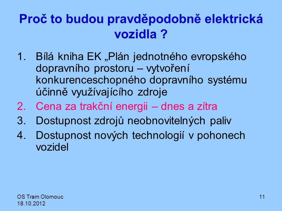 """OS Tram Olomouc 18.10.2012 11 Proč to budou pravděpodobně elektrická vozidla ? 1.Bílá kniha EK """"Plán jednotného evropského dopravního prostoru – vytvo"""