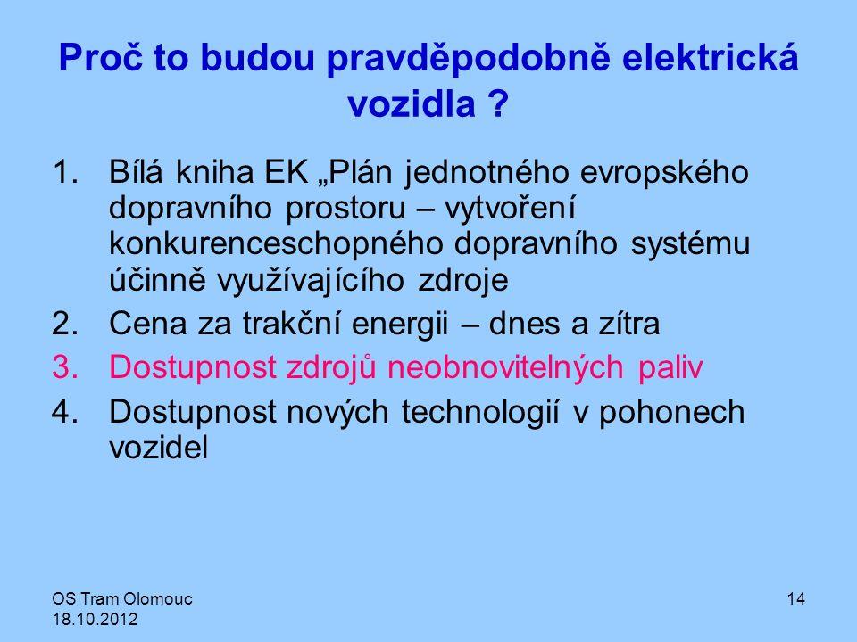 """OS Tram Olomouc 18.10.2012 14 Proč to budou pravděpodobně elektrická vozidla ? 1.Bílá kniha EK """"Plán jednotného evropského dopravního prostoru – vytvo"""