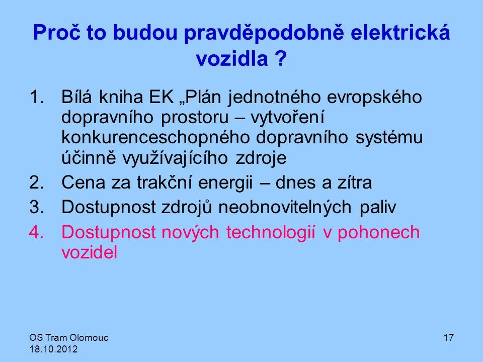 """OS Tram Olomouc 18.10.2012 17 Proč to budou pravděpodobně elektrická vozidla ? 1.Bílá kniha EK """"Plán jednotného evropského dopravního prostoru – vytvo"""