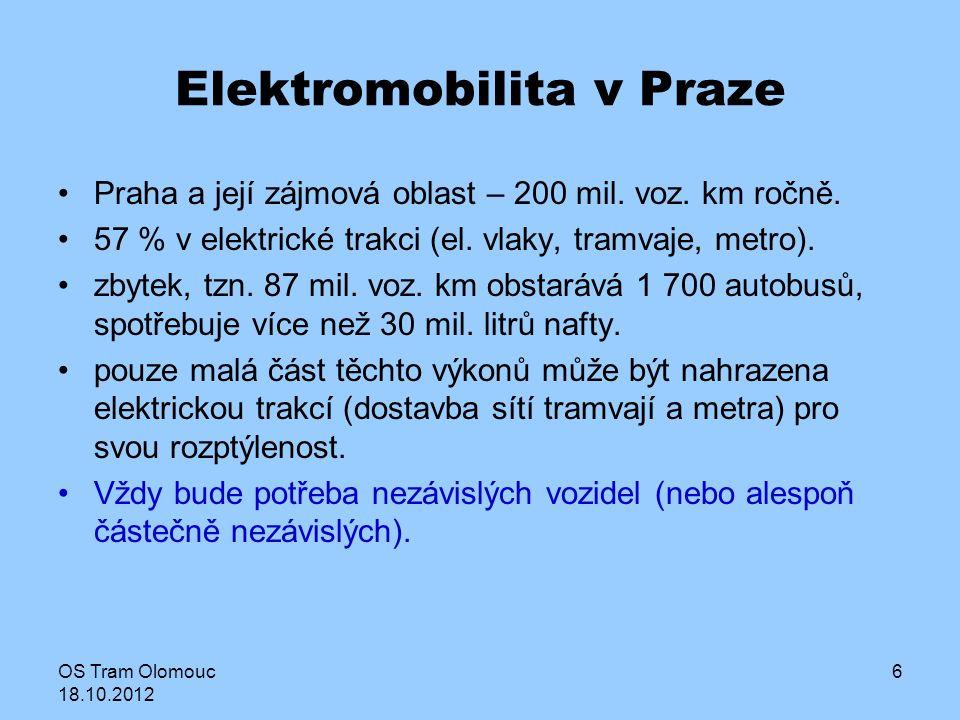 OS Tram Olomouc 18.10.2012 6 Elektromobilita v Praze Praha a její zájmová oblast – 200 mil. voz. km ročně. 57 % v elektrické trakci (el. vlaky, tramva
