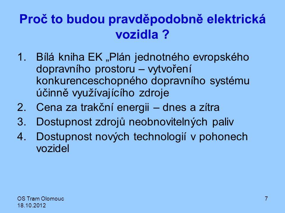 """OS Tram Olomouc 18.10.2012 7 Proč to budou pravděpodobně elektrická vozidla ? 1.Bílá kniha EK """"Plán jednotného evropského dopravního prostoru – vytvoř"""