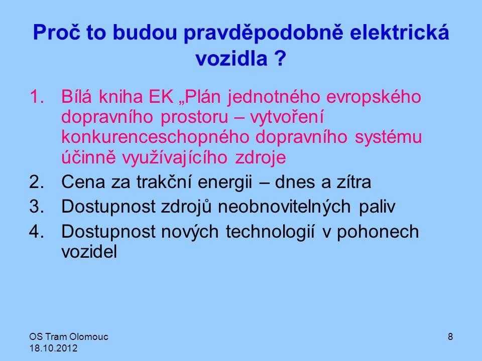 OS Tram Olomouc 18.10.2012 9 Bílá kniha V budoucích desetiletích se zásoby ropy sníží a její zdroje budou stále více nejistější, čím méně se nám bude dařit snižovat emise uhlíku, tím větší bude nárůst ceny ropy.