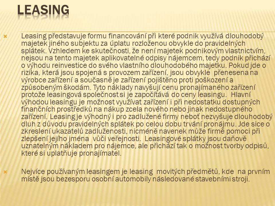  Leasing představuje formu financování při které podnik využívá dlouhodobý majetek jiného subjektu za úplatu rozloženou obvykle do pravidelných splátek.