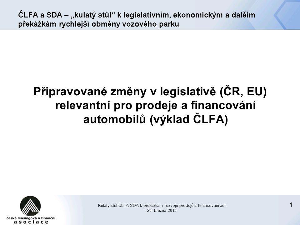 """11 ČLFA a SDA – """"kulatý stůl k legislativním, ekonomickým a dalším překážkám rychlejší obměny vozového parku Připravované změny v legislativě (ČR, EU) relevantní pro prodeje a financování automobilů (výklad ČLFA) Kulatý stůl ČLFA-SDA k překážkám rozvoje prodejů a financování aut 28."""
