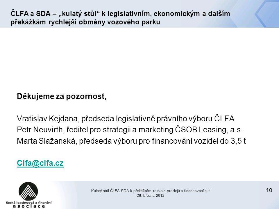 10 Děkujeme za pozornost, Vratislav Kejdana, předseda legislativně právního výboru ČLFA Petr Neuvirth, ředitel pro strategii a marketing ČSOB Leasing, a.s.