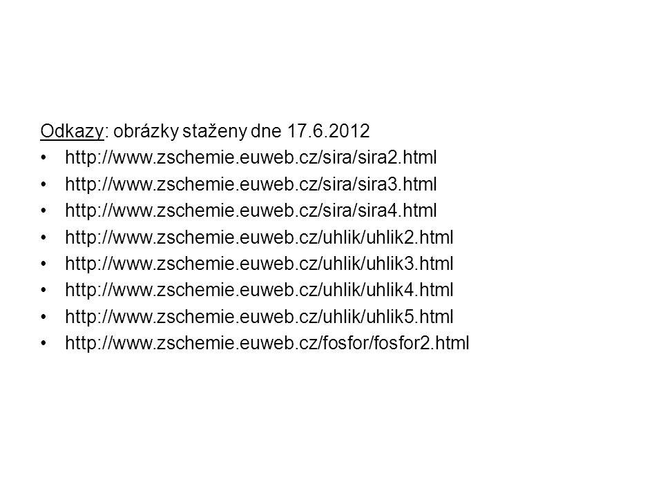 Odkazy: obrázky staženy dne 17.6.2012 http://www.zschemie.euweb.cz/sira/sira2.html http://www.zschemie.euweb.cz/sira/sira3.html http://www.zschemie.euweb.cz/sira/sira4.html http://www.zschemie.euweb.cz/uhlik/uhlik2.html http://www.zschemie.euweb.cz/uhlik/uhlik3.html http://www.zschemie.euweb.cz/uhlik/uhlik4.html http://www.zschemie.euweb.cz/uhlik/uhlik5.html http://www.zschemie.euweb.cz/fosfor/fosfor2.html