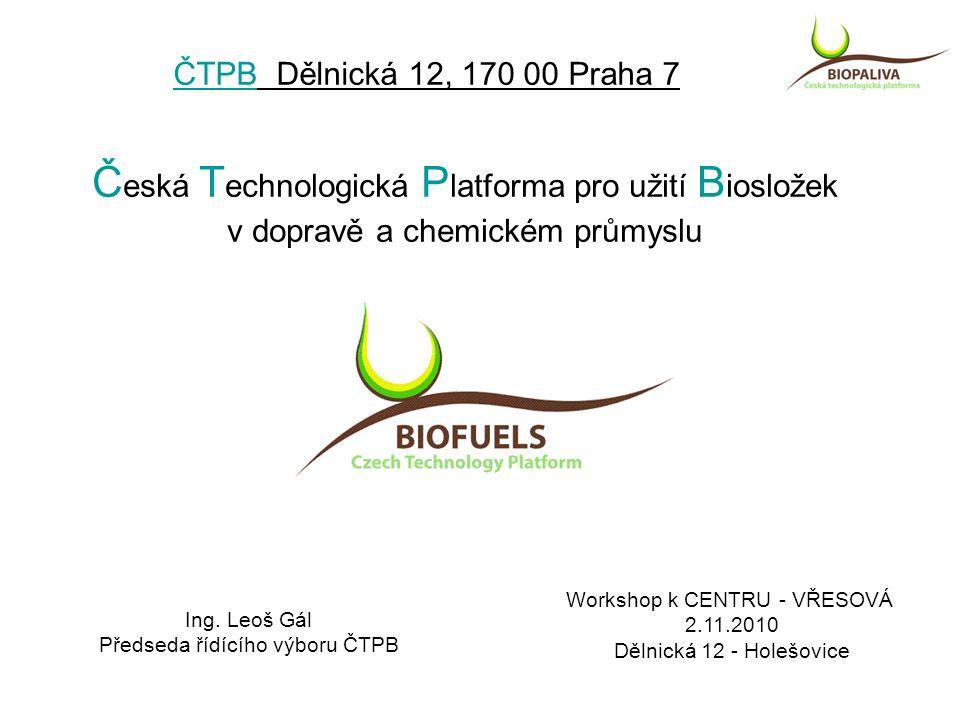 ČTPB Dělnická 12, 170 00 Praha 7 Č eská T echnologická P latforma pro užití B iosložek v dopravě a chemickém průmyslu Workshop k CENTRU - VŘESOVÁ 2.11.2010 Dělnická 12 - Holešovice Ing.