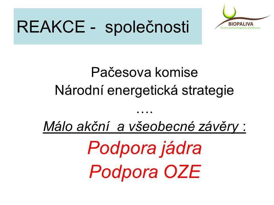 REAKCE - společnosti Pačesova komise Národní energetická strategie …. Málo akční a všeobecné závěry : Podpora jádra Podpora OZE