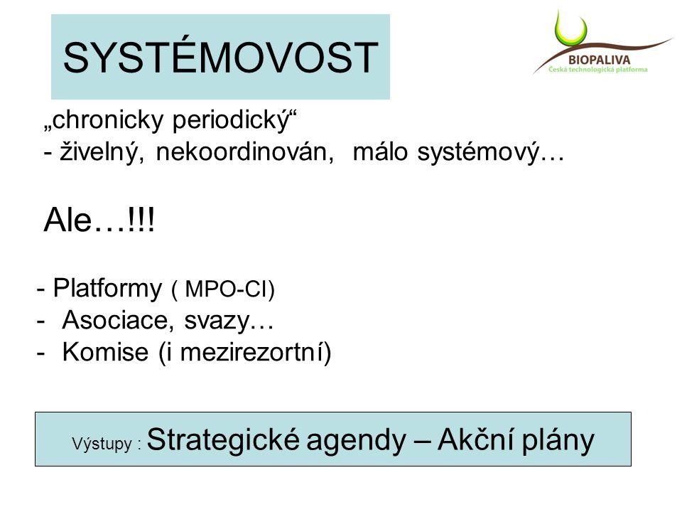 """SYSTÉMOVOST """"chronicky periodický"""" - živelný, nekoordinován, málo systémový… Ale…!!! - Platformy ( MPO-CI) -Asociace, svazy… -Komise (i mezirezortní)"""