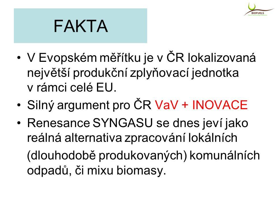 FAKTA V Evopském měřítku je v ČR lokalizovaná největší produkční zplyňovací jednotka v rámci celé EU. Silný argument pro ČR VaV + INOVACE Renesance SY
