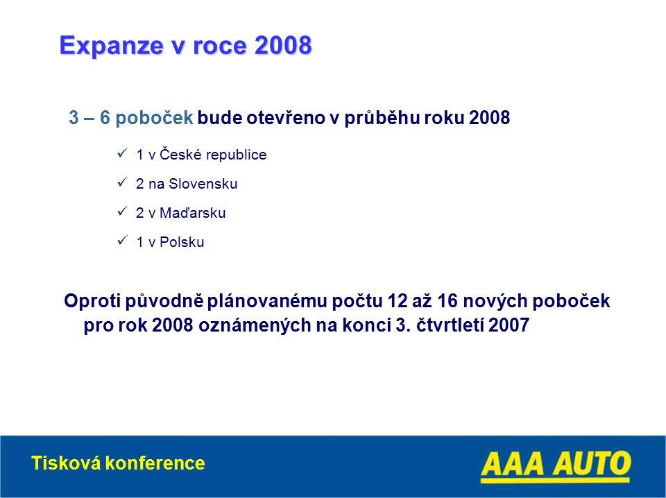 Expanze v roce 2008 3 – 6 poboček bude otevřeno v průběhu roku 2008 1 v České republice 2 na Slovensku 2 v Maďarsku 1 v Polsku Oproti původně plánovanému počtu 12 až 16 nových poboček pro rok 2008 oznámených na konci 3.