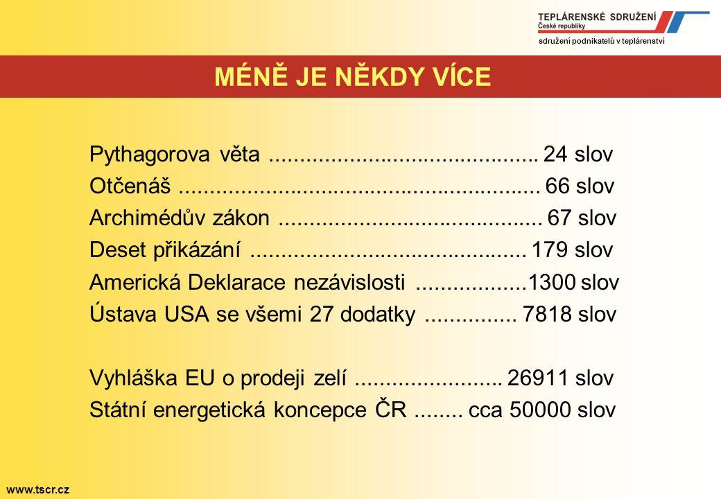 sdružení podnikatelů v teplárenství www.tscr.cz Státní energetická koncepce ČR Základní pilíře: Energetická bezpečnost Konkurenceschopnost Dlouhodobá udržitelnost + zatím řada nezodpovězených otázek!