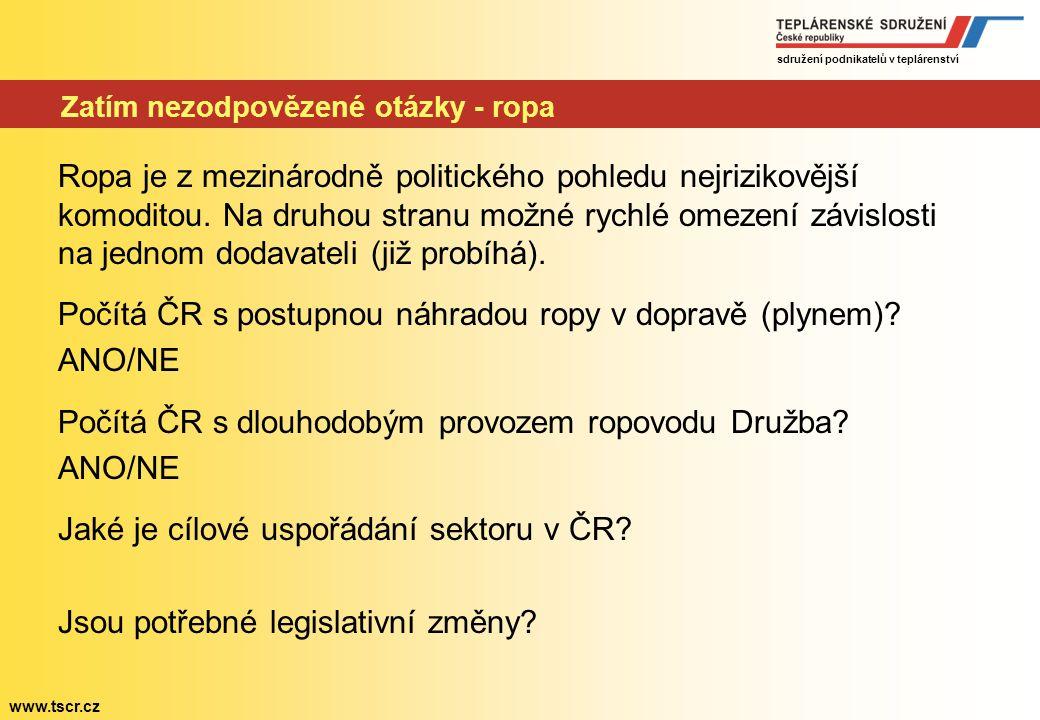 """sdružení podnikatelů v teplárenství www.tscr.cz Zatím nezodpovězení otázky – (hnědé) uhlí Debata o """"zakonzervování"""" těžebních lokalit bezpředmětná – p"""