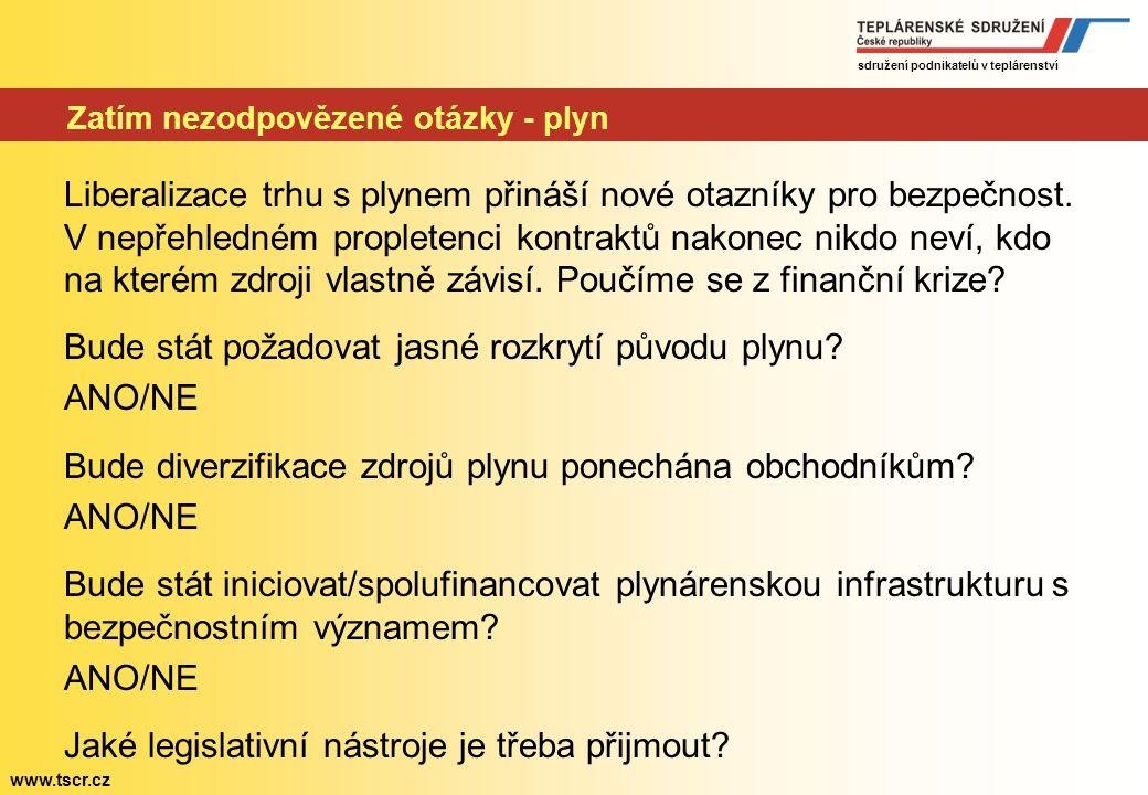sdružení podnikatelů v teplárenství www.tscr.cz Zatím nezodpovězené otázky - ropa Ropa je z mezinárodně politického pohledu nejrizikovější komoditou.