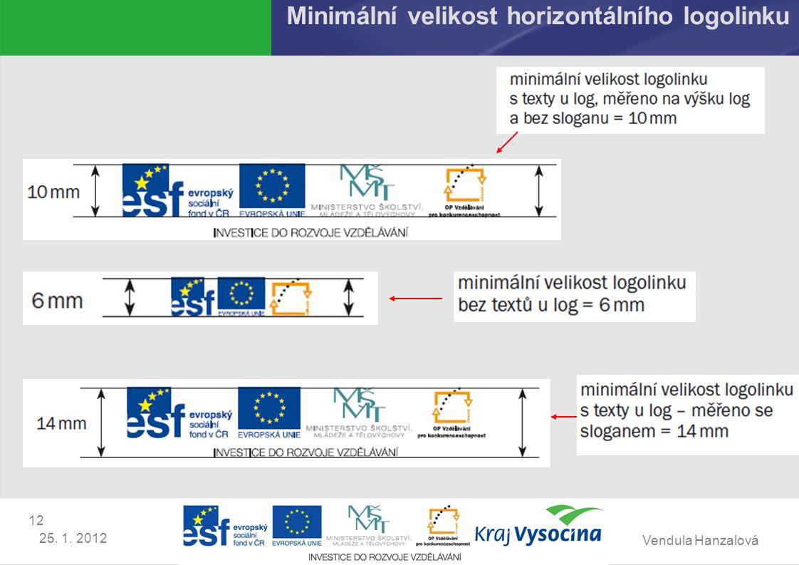 Vendula Hanzalová 12 25. 1. 2012 Minimální velikost horizontálního logolinku