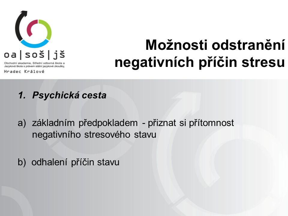 Možnosti odstranění negativních příčin stresu 1.Psychická cesta a)základním předpokladem - přiznat si přítomnost negativního stresového stavu b) odhalení příčin stavu