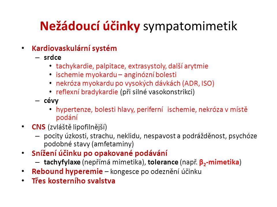 Nežádoucí účinky sympatomimetik Kardiovaskulární systém – srdce tachykardie, palpitace, extrasystoly, další arytmie ischemie myokardu – anginózní bole