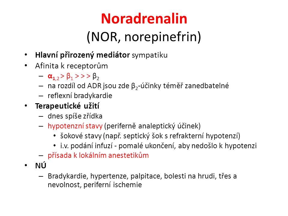 Noradrenalin (NOR, norepinefrin) Hlavní přirozený mediátor sympatiku Afinita k receptorům – α 1,2 ˃ β 1 ˃ ˃ ˃ β 2 – na rozdíl od ADR jsou zde β 2 -úči