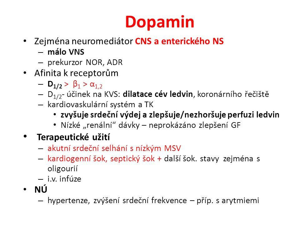 Dopamin Zejména neuromediátor CNS a enterického NS – málo VNS – prekurzor NOR, ADR Afinita k receptorům – D 1/2 ˃ β 1 ˃ α 1,2 – D 1/2 - účinek na KVS: