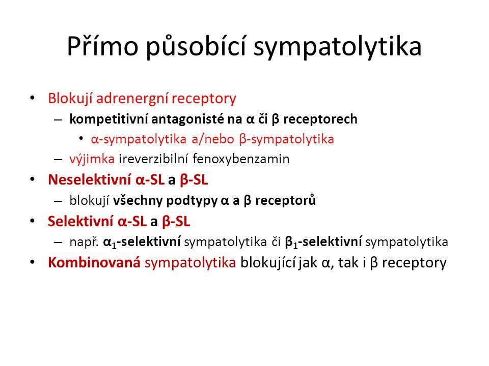 Přímo působící sympatolytika Blokují adrenergní receptory – kompetitivní antagonisté na α či β receptorech α-sympatolytika a/nebo β-sympatolytika – vý