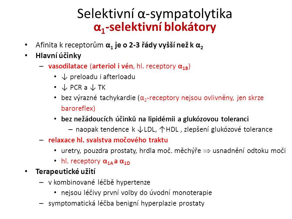 Selektivní α-sympatolytika α 1 -selektivní blokátory Afinita k receptorům α 1 je o 2-3 řády vyšší než k α 2 Hlavní účinky – vasodilatace (arteriol i v