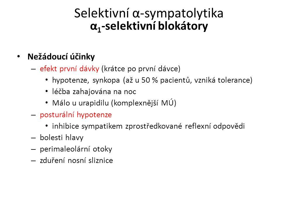Selektivní α-sympatolytika α 1 -selektivní blokátory Nežádoucí účinky – efekt první dávky (krátce po první dávce) hypotenze, synkopa (až u 50 % pacien