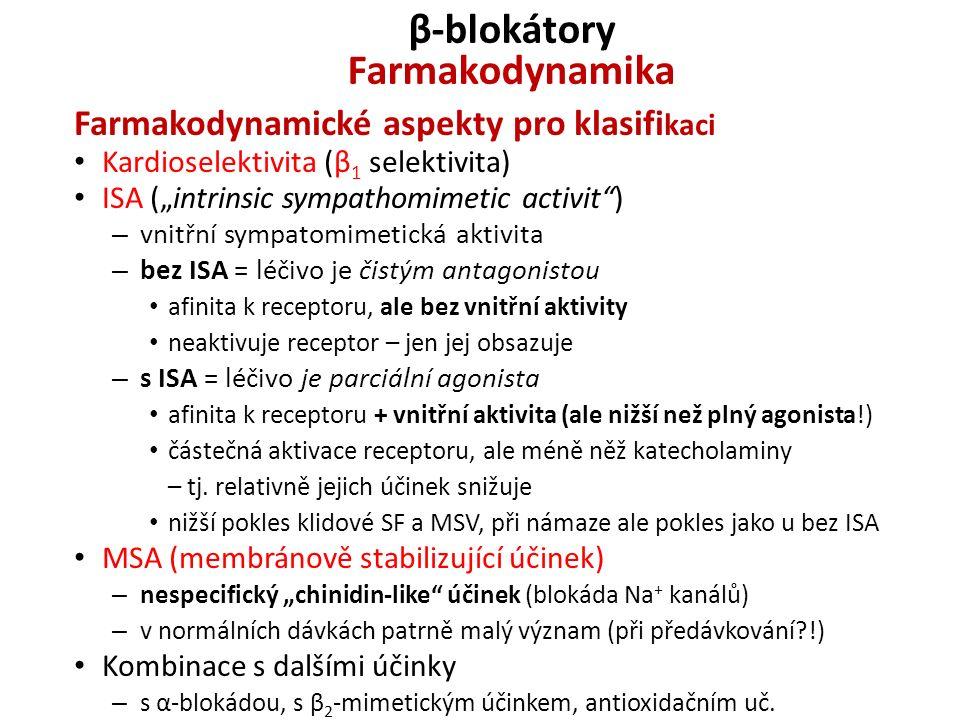 """β-blokátory Farmakodynamika Farmakodynamické aspekty pro klasifi kaci Kardioselektivita (β 1 selektivita) ISA (""""intrinsic sympathomimetic activit"""") –"""